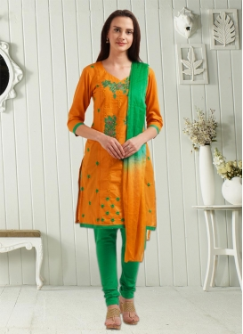 Green and Orange Embroidered Work Punjabi Churidar Salwar Suit
