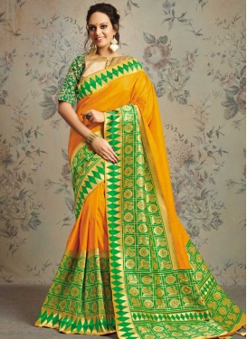 Green and Orange Jacquard Silk Traditional Saree