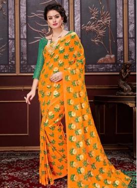 Green and Orange Print Work Trendy Classic Saree