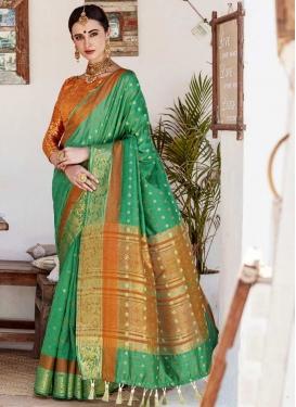 Green and Orange Thread Work Classic Saree