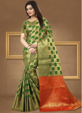 Green and Orange Thread Work Contemporary Style Saree