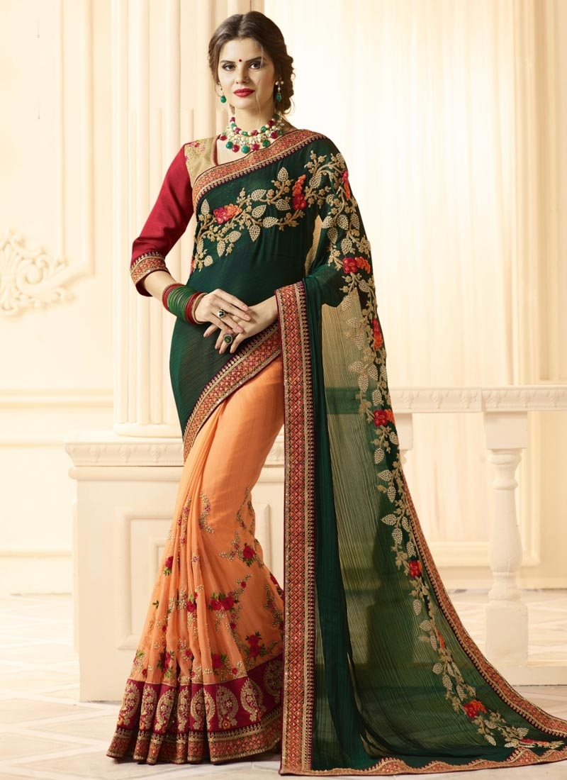 Green and Peach Banarasi Silk Half N Half Trendy Saree