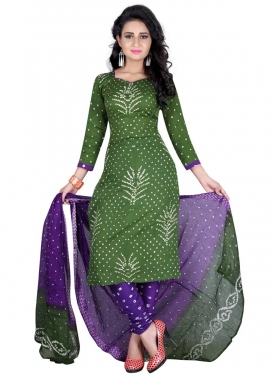 Green and Purple Bandhej Print Work Punjabi Churidar Salwar Kameez