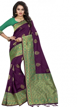 Green and Purple Jacquard Silk Designer Contemporary Style Saree