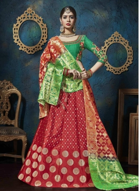 Green and Red  A - Line Lehenga