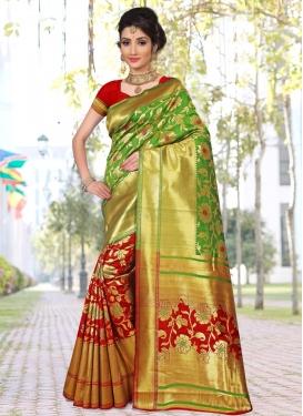 Green and Red Art Silk Half N Half Saree