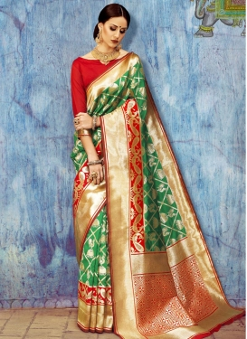 Green and Red Contemporary Style Saree