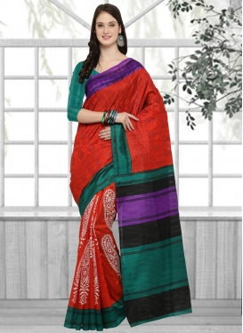 Green and Red Embroidered Work Contemporary Saree