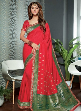 Green and Red Embroidered Work Contemporary Style Saree