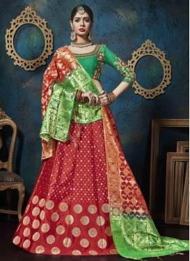 Green and Red Embroidered Work Jacquard Silk A Line Lehenga Choli