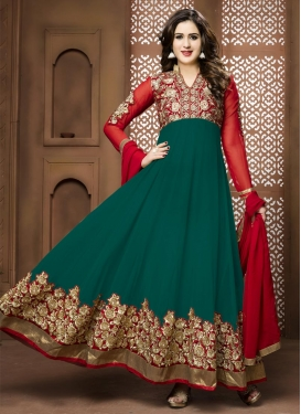 Green and Red Faux Georgette Long Length Anarkali Suit For Festival