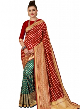 Green and Red Half N Half Saree For Ceremonial