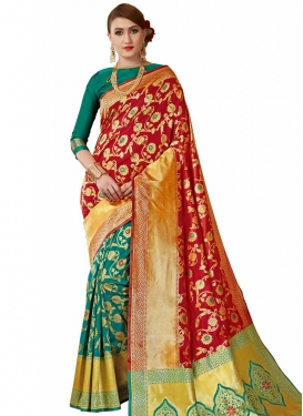 Green and Red Half N Half Trendy Saree For Ceremonial