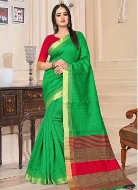 Green and Red Kanjivaram Silk Classic Saree