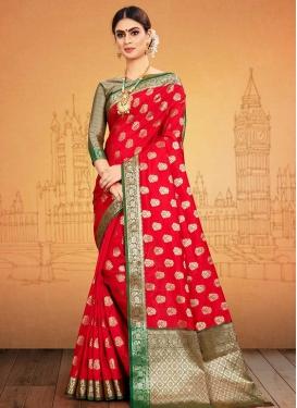 Green and Red Thread Work Banarasi Silk Traditional Saree