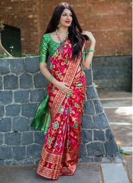 Green and Red Thread Work Contemporary Style Saree