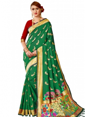 Green and Red Thread Work Designer Contemporary Saree