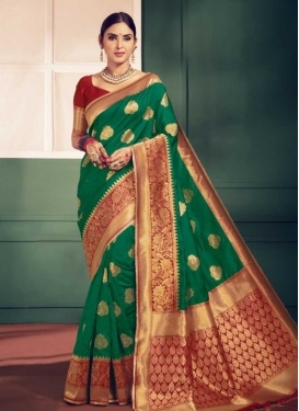 Green and Red Thread Work Designer Contemporary Style Saree