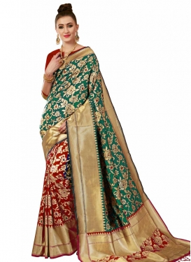 Green and Red Thread Work Half N Half Designer Saree