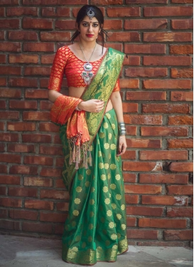 Green and Red Thread Work Traditional Saree
