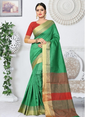 Green and Red Thread Work Trendy Saree