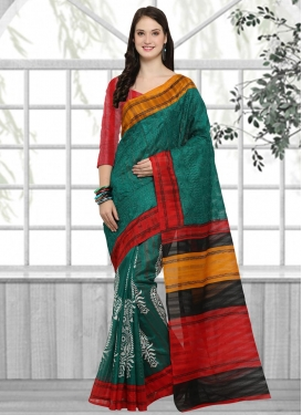 Green and Red Trendy Saree