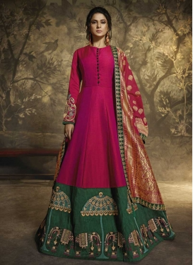 Green and Rose Pink Anarkali Salwar Kameez
