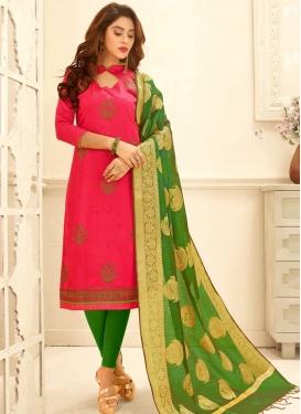 Green and Rose Pink Churidar Salwar Kameez For Ceremonial