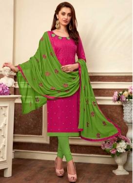Green and Rose Pink Churidar Salwar Suit