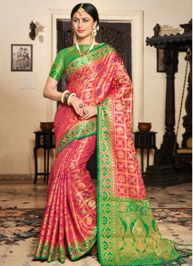 Green and Rose Pink Classic Saree For Ceremonial