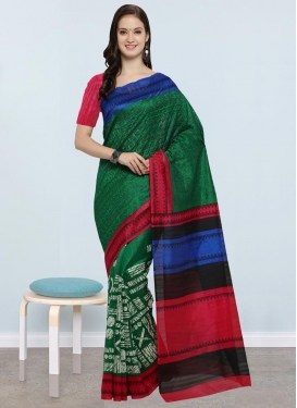 Green and Rose Pink Contemporary Style Saree For Casual