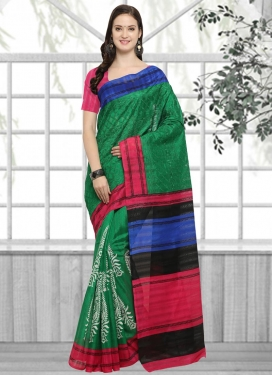 Green and Rose Pink Embroidered Work Contemporary Style Saree