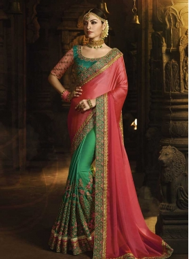 Green and Rose Pink Embroidered Work Half N Half Trendy Saree