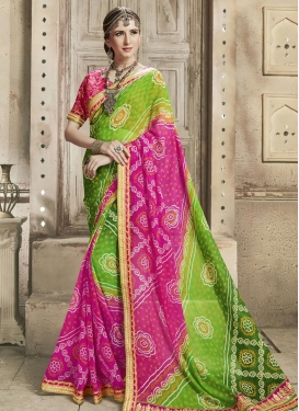 Green and Rose Pink Faux Georgette Contemporary Style Saree For Ceremonial