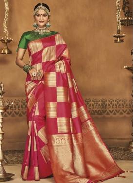 Green and Rose Pink Jacquard Silk Classic Saree