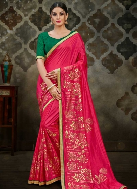 Green and Rose Pink Lace Work Designer Contemporary Saree