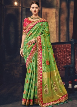 Green and Rose Pink Lace Work Trendy Saree