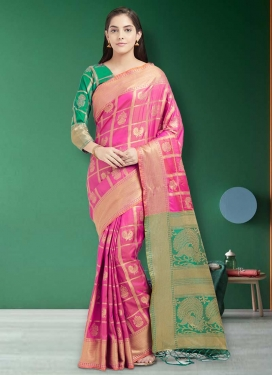 Green and Rose Pink Thread Work Trendy Classic Saree
