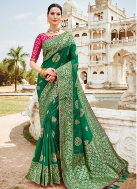 Green and Rose Pink Traditional Saree For Festival