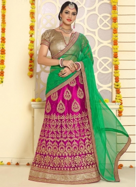 Green and Rose Pink Trendy A Line Lehenga Choli For Ceremonial
