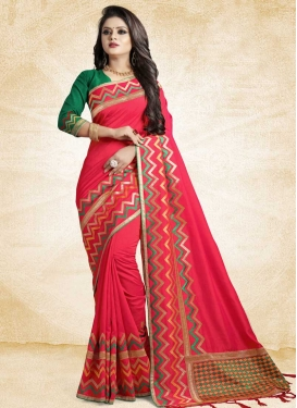 Green and Rose Pink Trendy Classic Saree For Festival