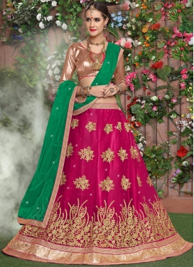 Green and Rose Pink Trendy Lehenga For Ceremonial
