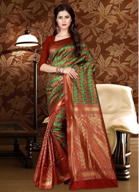 Green and Rust Patola Silk Half N Half Trendy Saree
