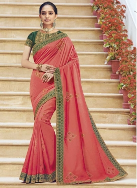 Green and Salmon Designer Traditional Saree For Ceremonial