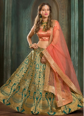 Green and Salmon Resham Work A Line Lehenga Choli