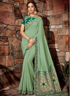 Green and Sea Green Beads Work Classic Saree