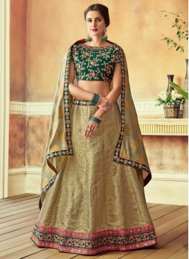 Green and Sea Green Embroidered Work A - Line Lehenga