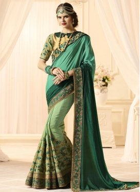 Green and Sea Green  Half N Half Trendy Saree