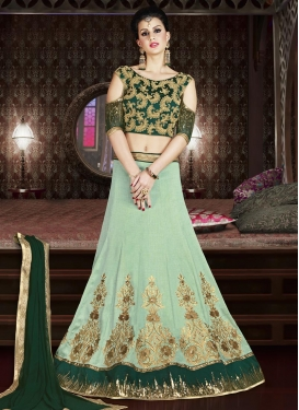 Green and Sea Green Silk A Line Lehenga Choli