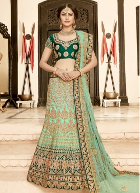 Green and Sea Green Silk Trendy Lehenga Choli